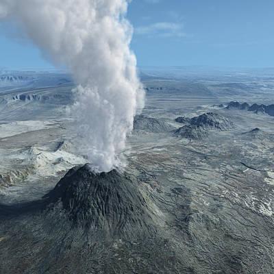 Geyser Photograph - Volcano Eruption With Ashes by Bijan Studio