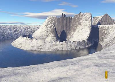 Digital Art - Volcano In A Lake by David Jenkins