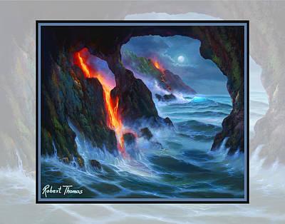 Robert Thomas Painting - Volcano Sea Cave by Robert Thomas