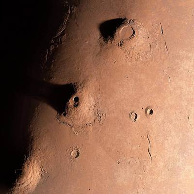 Volcanoes On Mars Art Print by Detlev Van Ravenswaay