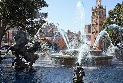 Jc Nichols Memorial Fountain In Blue Art Print