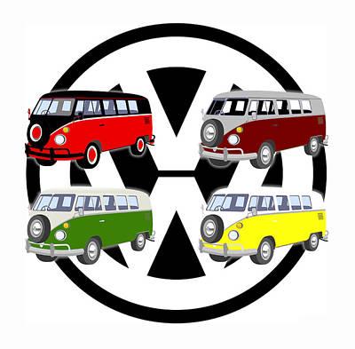 Hippie Van Digital Art - Volkes Vans by Daniel Hagerman
