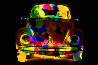 Painting - Volkswagen Beetle Colorful Abstract On Black by Eti Reid
