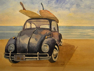 Surfing Art Painting - Volkswagen Beetle by Juan  Bosco