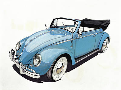 Beetle Drawing - Volkswagen Beetle by Paul Kuras
