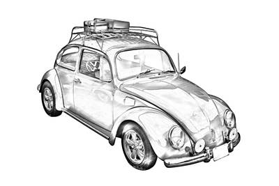 Photograph - Volkswagen Beetle Punch Buggy Illustration by Keith Webber Jr