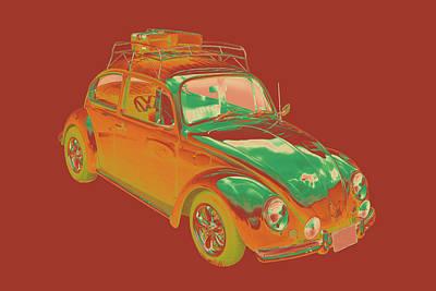Collectible Sports Art Digital Art - Volkswagen Beetle Punch Buggy Modern Pop Art by Keith Webber Jr