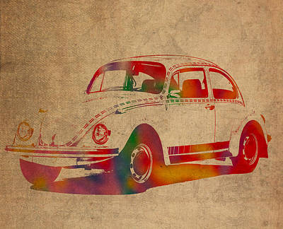 Volkswagen Beetle Vintage Watercolor Portrait On Worn Distressed Canvas Art Print