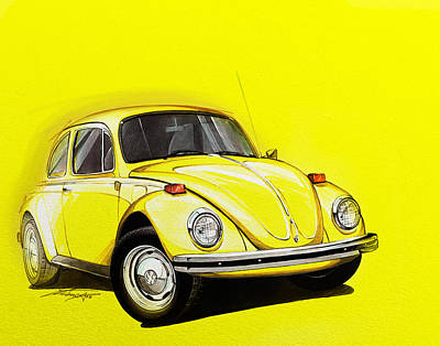 Marker Wall Art - Digital Art - Volkswagen Beetle Vw Yellow by Etienne Carignan