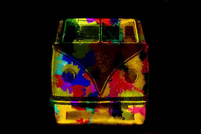 Painting - Volkswagen Camper Colorful Abstract On Black by Eti Reid