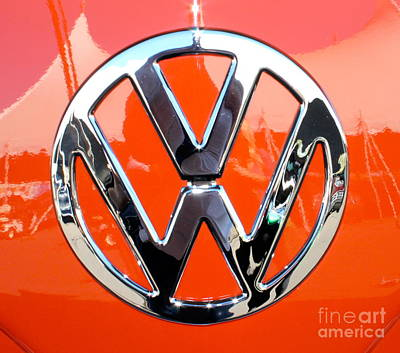 Photograph - Volkswagen Emblem Red by Pamela Walrath