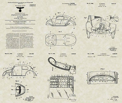 Wall Hanging Drawing - Volkswagen Patent Collection by PatentsAsArt