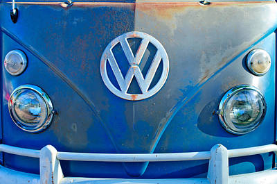 Bus Photograph - Volkswagen Vw Bus Front Emblem by Jill Reger