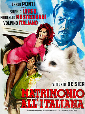 Painting - Volpino Italiano Art Canvas Print - Matrimonio All Italiana Movie Poster by Sandra Sij