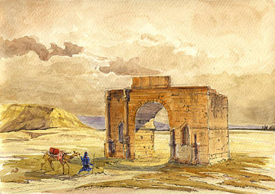 Camels Painting - Volubilis Mecknes Ruins by Juan  Bosco