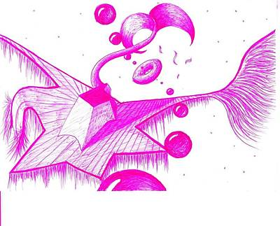 Drawing - Volumes Magenta by Nieve Andrea