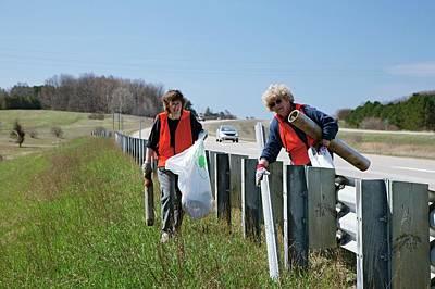 Volunteers Clearing Roadside Litter Art Print