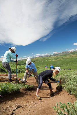 Colorado Front Range Photograph - Volunteers Maintaining Hiking Trail by Jim West