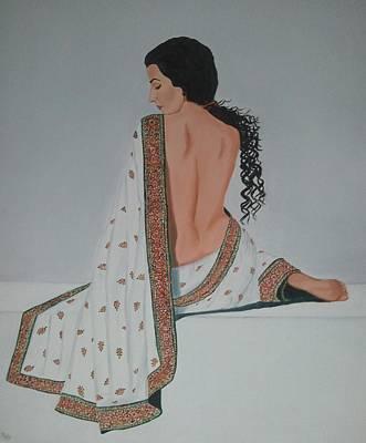 Sexy Indian Girl Painting - Voluptuous Vidya Balan In White Sari by Pallavi Talra