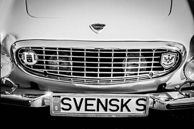 Photograph - Volvo Grille Emblem -0198bw by Jill Reger