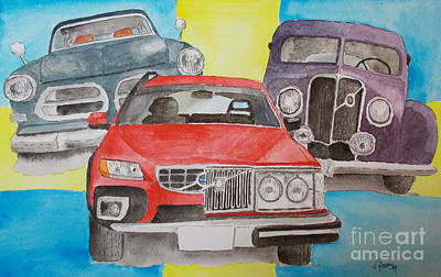 Art Print featuring the painting Volvo Nostalgi by Eva Ason