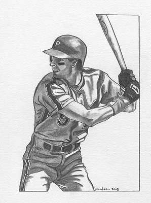 Baseball. Philadelphia Phillies Drawing - Von Hayes by Brian Condron