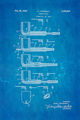 Vonnegut Tobacco Pipe Patent Art 1946 Blueprint Art Print by Ian Monk
