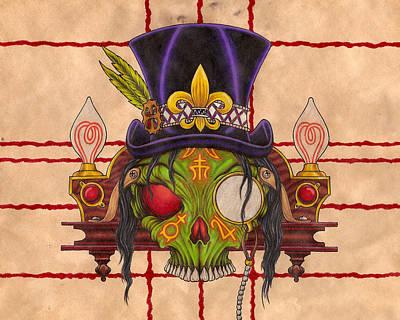 Lightbulb Drawing - Voodoo King by Rik Hayes