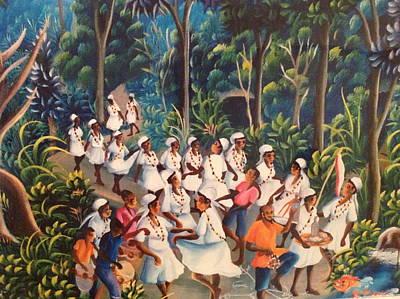 Voodoo Procession Art Print by Haitian artist
