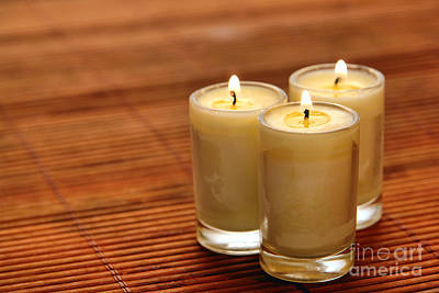 Trio Photograph - Votive Candle Burning by Olivier Le Queinec