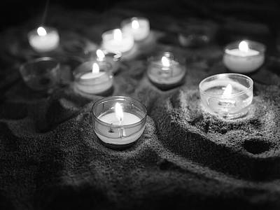 Photograph - Votive Candles In Black And White by Charles Lupica