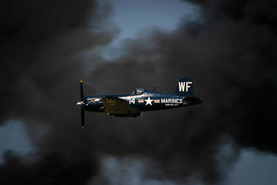 Airshow Flight Photograph - Vought F4u Corsair by Adam Romanowicz