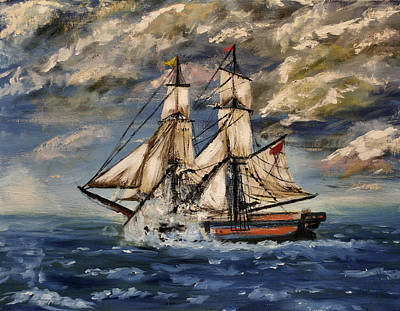 Historic Schooner Painting - Voyage Of The Cloud Chaser by Isabella F Abbie Shores FRSA