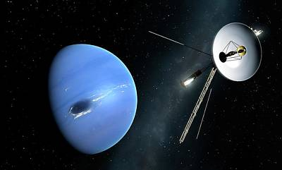 Neptune Wall Art - Photograph - Voyager II Probe Passes Neptune by Mark Garlick/science Photo Library