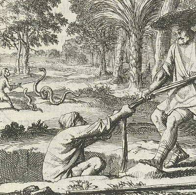 Voyager Rescues A Man From A Pit, Jan Luyken Art Print by Jan Luyken And Aart Wolsgrein