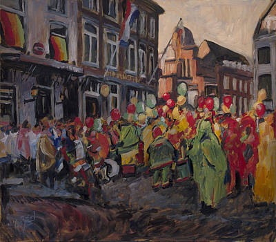 Painting - Vreug And Neugter After The Carnival Parade Maastricht by Nop Briex