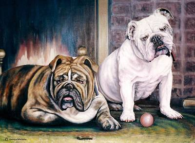 Bulldog Oil Painting - V's Bulldogs by Melodye Whitaker