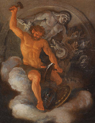 The Forge Of Vulcan Painting - Vulcan At His Forge Behind Him A Bas-relief Of Hercules Fighting The Hydra by Filippo Lauri