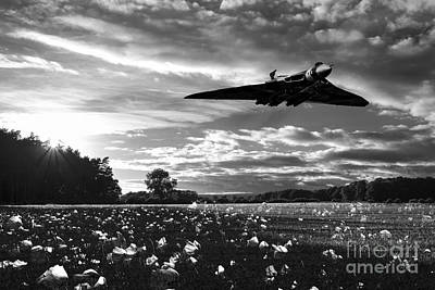 Poppies Field Digital Art - Vulcan History Mono by J Biggadike