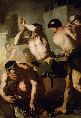 Naked Man Painting - Vulcans Forge by Luca Giordano