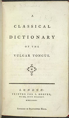 Dictionary Photograph - Vulgar Tongue by British Library