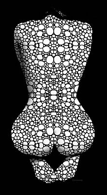 Mosaic Digital Art - Nude Art - Vulnerable - Black And White By Sharon Cummings by Sharon Cummings
