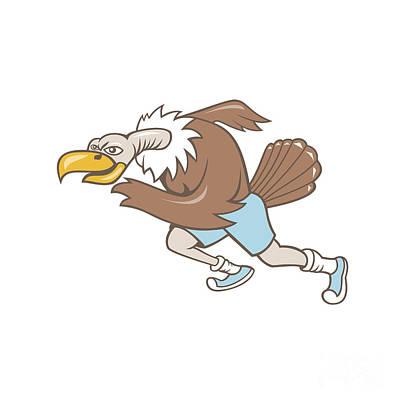 Buzzard Digital Art - Vulture Buzzard Runner Running Cartoon by Aloysius Patrimonio