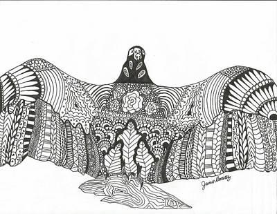 Meditative Drawing - Vulture Wild Ink by Jamie Ramirez