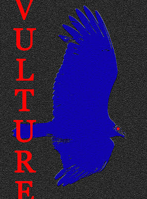 Black Bird.flying Art Painting - Vulture With Running Text by David Lee Thompson