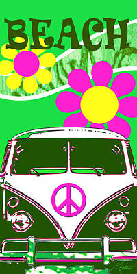 Digital Art - Vw Beach  Green by Larry Hunter