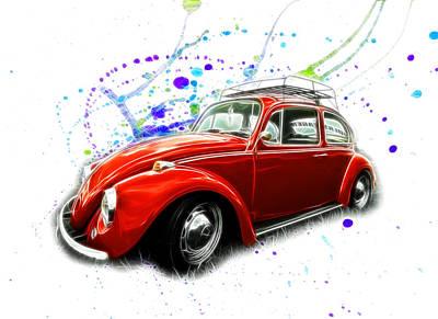 Photograph - Vw Beetle Paint Splatter by Steve McKinzie