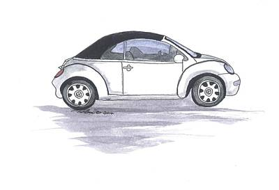 Vw Beetle Drawing - Vw Beetle by Petra Stephens
