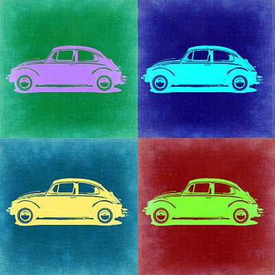 Automotive Digital Art - Vw Beetle Pop Art 3 by Naxart Studio
