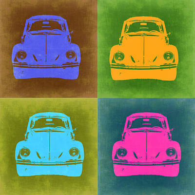 Automotive Digital Art - Vw Beetle Pop Art 6 by Naxart Studio